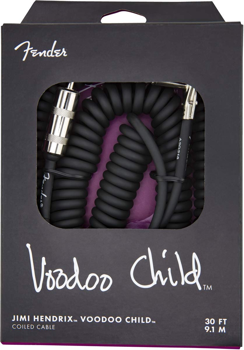 Black Fender Hendrix Voodoo Child Coiled Cable 30/' Straight to Angled