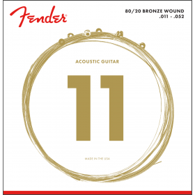 Fender 70CL 80/20 Bronze Acoustic Guitar Strings Set - CUSTOM LIGHT 11-52