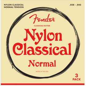 3-PACK Fender 100 Clear Nylon Tie End Classical Guitar Strings - MEDIUM 28-43