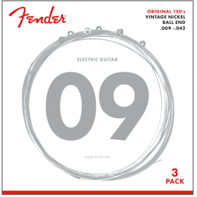 3-PACK of Fender 150L Pure-Nickel Electric Guitar Strings - LIGHT 9-42