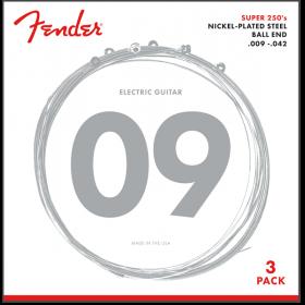 (PACK OF 3) Fender Super 250's Electric Guitar Strings - 250L, LIGHT,  9-42