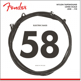 Fender 9120M Nylon Tapewound Electric Bass Strings, Long Scale MEDIUM 58-110