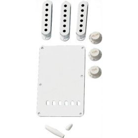 Genuine Fender WHITE Stratocaster/Strat Accessory Kit - BackPlate, Knobs, Covers