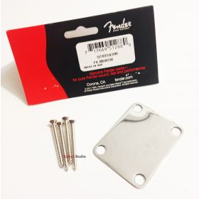 "Genuine Fender ""Vintage Style"" 4-Bolt Plain Neck Plate with Screws - CHROME"