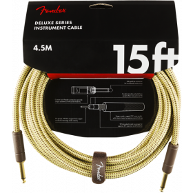 Fender Deluxe TWEED Electric Guitar/Instrument Cable, Straight Ends, 15' ft