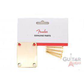 Genuine Fender Vintage Original Strat/Tele Plain 4-Bolt Gold Neck Plate w/Screws