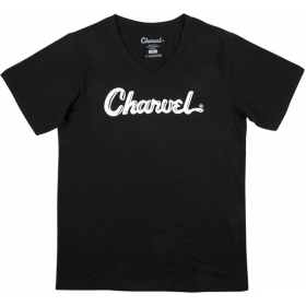 Charvel Guitars Toothpaste Logo, Ladies Fit Tee T-Shirt, Black, MEDIUM (M)