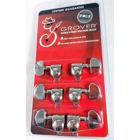 Grover 102-18N Rotomatic 18:1 Guitar Machine Head Tuners, Set of 6 (3x3) NICKEL