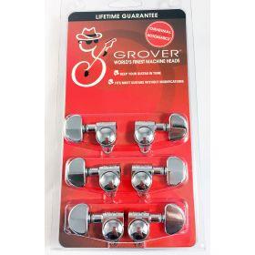 Grover 102C Original Rotomatic Guitar Machine Head Tuners, Set of 6 (3x3) CHROME