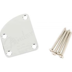 Genuine Fender Deluxe Series 4-Bolt Contoured Logo Neck Plate - CHROME