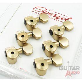 Sperzel 6-In-Line Trimlok Locking Guitar Tuners Staggered Pegs - SATIN GOLD