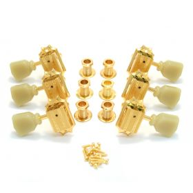 Grover 135G Die-Cast Vintage Style Gold Guitar Machine Head Tuners - 3 Per Side