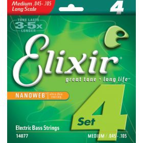 Elixir Strings Electric Bass Strings 4-String Medium Long Scale NANOWEB Coating
