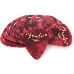 Fender 351 Premium Celluloid Guitar Picks - THIN RED MOTO - 12-Pack (1 Dozen)