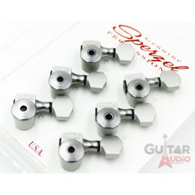 Sperzel 6-In-Line Trimlok Locking Tuners Staggered Tuning Pegs - SATIN/CHROME
