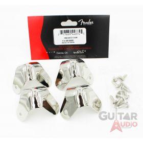 (Set of 4) Genuine Fender Nickel Metal Amp Corners 3-Screw Mounting with Screws