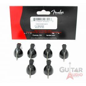 (6) Genuine Fender Pure Vintage BLACK Chicken Head Amplifier/Amp Knobs