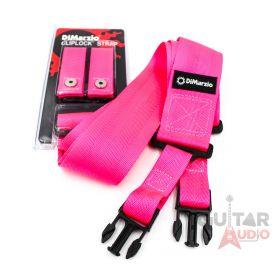 """DiMarzio ClipLock Quick Release 2"""" Nylon Guitar Strap - NEON PINK, DD2200PK"""
