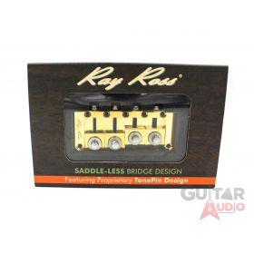 Ray Ross Saddle-Less/Saddleless 4-String P/J Bass Bridge - GOLD, RRB4G
