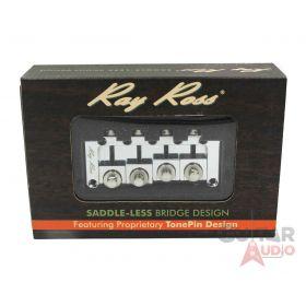 Ray Ross Saddle-Less/Saddleless 4-String P/J Bass Bridge - CHROME, RRB4C