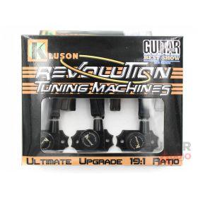 Kluson Revolution KRGL-3-B 3X3 Locking Tuners, Metal Keystone Buttons - BLACK