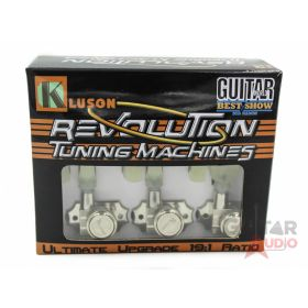 Kluson Revolution KRGL-3-NP 3X3 Locking Guitar Tuners, Keystone Buttons - NICKEL