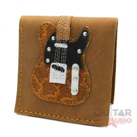 AXE HEAVEN Genuine Leather Brown Embossed Paisley Electric Guitar Wallet Gift