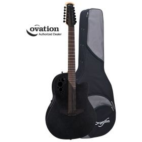 Ovation Elite TX 2058TX-5 12-String Acoustic-Electric Guitar - Black w/ Case