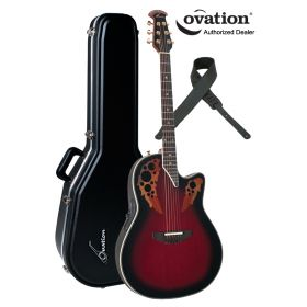Ovation Elite 2078AX Acoustic-Electric Guitar - Black Cherry Red Burst w/ Case