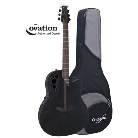 Ovation Elite TX 2078TX-5 Contour-Bowl Acoustic-Electric Guitar - Black w/ Case