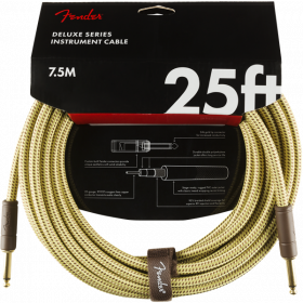 Fender Deluxe TWEED Electric Guitar/Instrument Cable, Straight Ends, 25' ft
