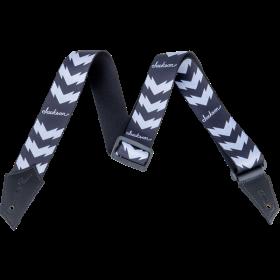Genuine Jackson Logo Guitar Strap with Double V Pattern, Black/White
