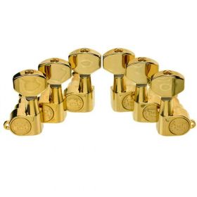 Hipshot GOLD 3+3 Classic Closed-Gear Guitar Machines 3x3 Tuners with UMP Kit