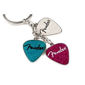 Genuine Fender Guitar Picks Gift Keychain -- Set of 3 Pink, Turquoise and Pearl