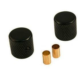 WD Music Black Metal Brass Knobs for Fender Tele/Telecaster Guitar - Set of 2