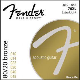 Fender 70XL 80/20 Bronze Acoustic Guitar Strings Set - EXTRA LIGHT 10-48