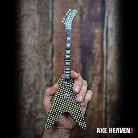 AXE HEAVEN Licensed Rick Nielsen Checkered Flying V MINIATURE Guitar Display
