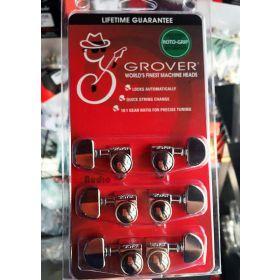 Grover 502C Roto-Grip Locking 18:1 Guitar Machine Heads Tuners - 3x3 CHROME