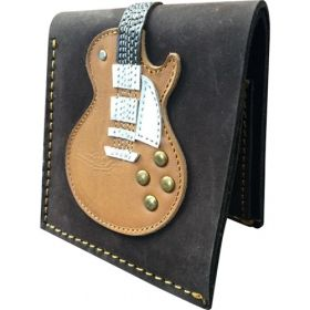 AXE HEAVEN Genuine Leather Honey Burst Electric Guitar Player Wallet Gift GW-007