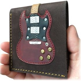 AXE HEAVEN Genuine Leather Double Cutaway Electric Guitar Player Wallet Gift