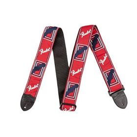 "Genuine Fender 2"" Monogrammed Adjustable Guitar Strap w/ Logo, Red/White/Blue"