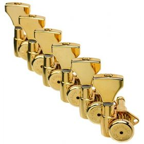 Hipshot GOLD 6-InLine Grip-Lock Non-Staggered Open-Gear Guitar Tuners w/ UMP Kit