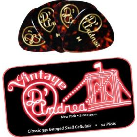 D'Andrea 351 Shape Medium Shell Guitar Picks - 12 Pack with Collectible Tin