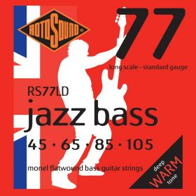 Rotosound Jazz Bass Monel Flatwound 4-String Bass Strings Set - RS77LD, 45-105