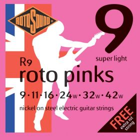 Rotosound Roto Pinks Nickel on Steel Electric Guitar Strings R9 SUPER LIGHT 9-42