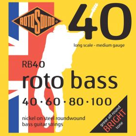 Rotosound RB40 Roto Bass Nickel on Steel 4-String Bass Strings Set, 40-100