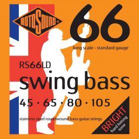 Rotosound RS66LD Linea Pressure Wound 4-String Bass Guitar Strings 45-105