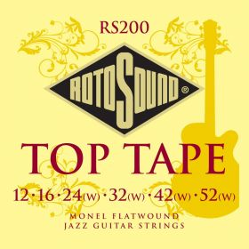 Rotosound Top Tape Monel Flatwound Jazz Electric Guitar Strings RS200 12-52