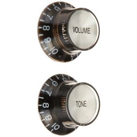 WD Music BKSBS Electric Guitar Control Bell Knob Set Top, Black/Silver, Set of 2