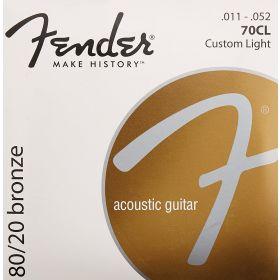 Fender 70CL 80/20 Bronze Acoustic Guitar Strings Set - CUSTOM LIGHT 11-52